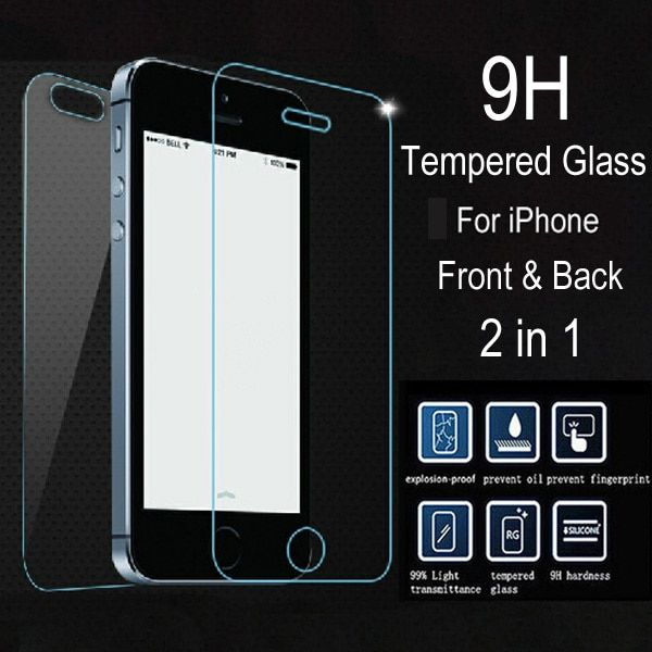 2 pcs/lot Front + Back Premium Tempered Glass for iPhone 5 5C 5S apple 4s 4 Glass Film Anti Shatter Screen Protector + Clean Kit