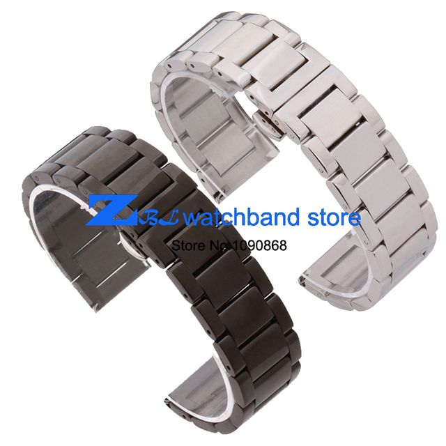 Free Shipping Stainless steel Watchband solid metal watch strap butterfly buckle silver black width 18mm 20mm 21mm 22mm belt