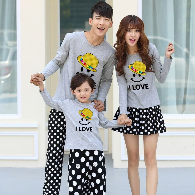 Hot Sale Family Matching Clothes Long Sleeve T-shirt Korean Smile Mother Daughter Dresses Father Son Outfits Fashion Family Look