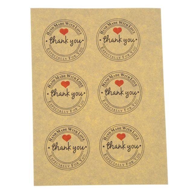 100 Pcs Red Love Thank You Self-adhesive Stickers Kraft Label Thank You Stickers Gifts Custom Round Labels Paper Bag