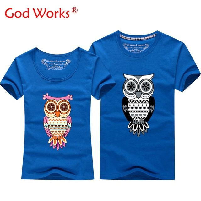2016 Good Quality Animal Night Owl T-shirt For Men And Women Lovers Couple Tshirt Design Tops Tees Short Sleeve O Neck Cotton