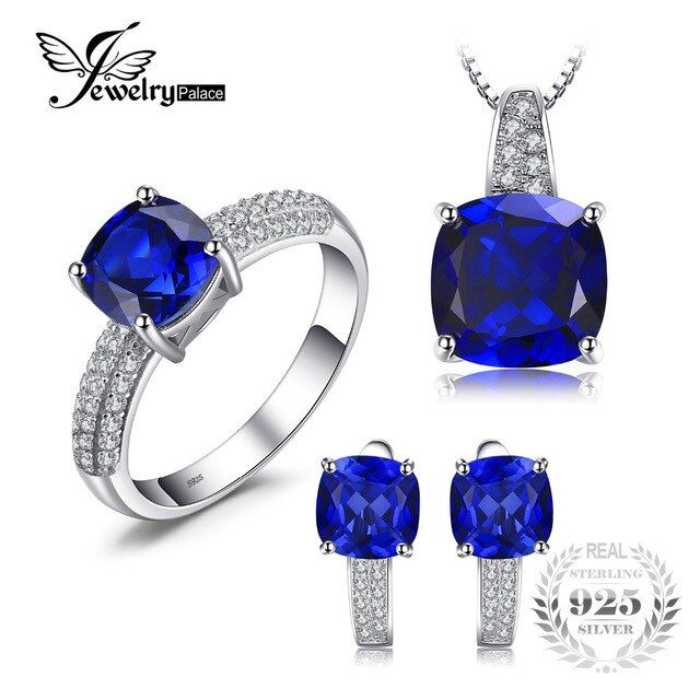 JewelryPalace Square Shape Created Sapphire  Ring Pendant Earring Clip Jewelry Set S925 Sterling Silver 925 Sterling Silver