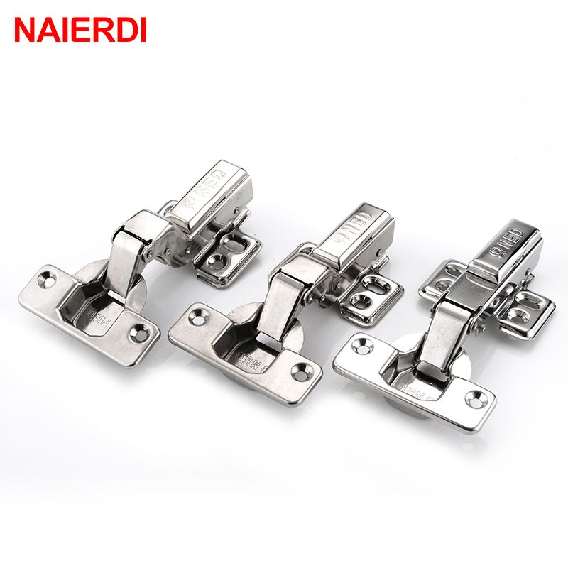 4PCS NAIERDI Hinge 304 Stainless Steel Pure Copper Hydraulic Damper Buffer Cabinet Cupboard Door Hinge For Furniture Hardware