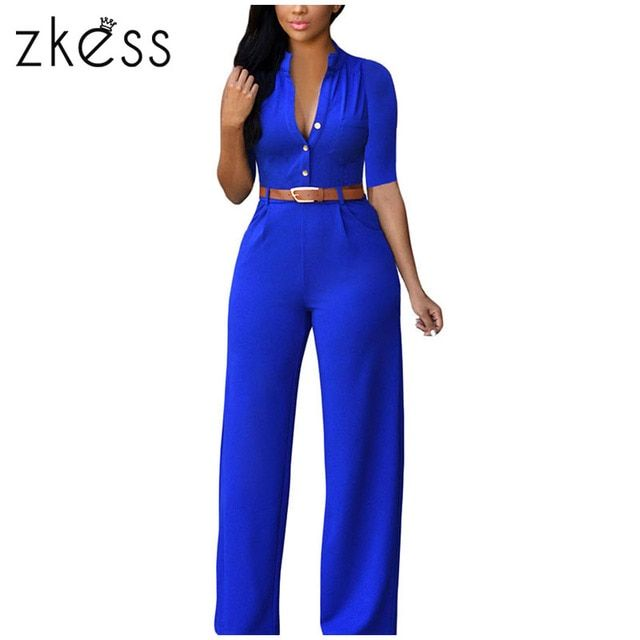 ZKESS Top Selling 7 Colors Rompers 2017 Summer Overalls Sleeveless Belted Wide Leg Playsuits long Jumpsuit for women LC60932
