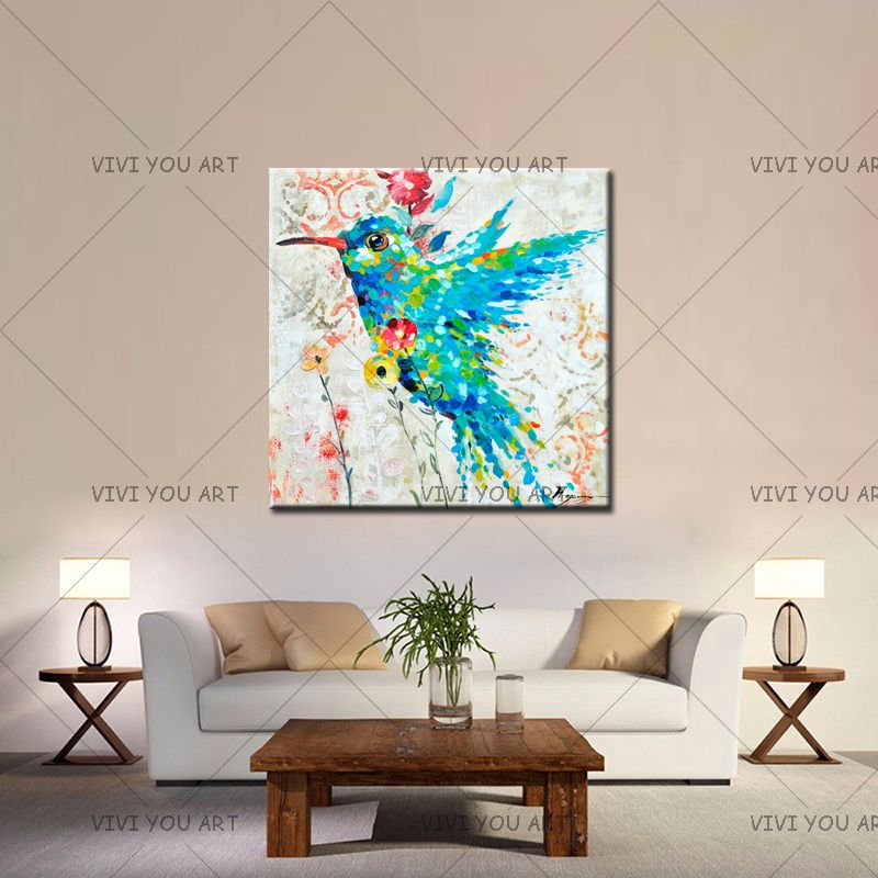 Humming Bird Hand Painted Oil Painting On Canvas Colourful Bird Animal Paintings Modern Handmade For Wall Art Decor In Bedroom