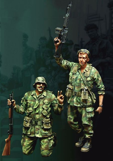 Free Shipping 1/35 Scale Unpainted Resin Figure Vietnam War Viva SEALs USMC