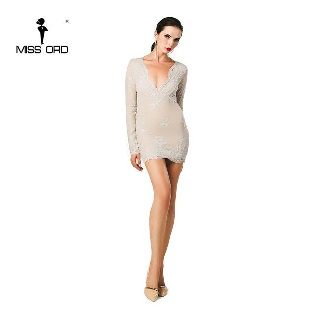 Free Shipping Missord 2018 Sexy deep v long-sleeved tight retro sequin Dress FT3580-1