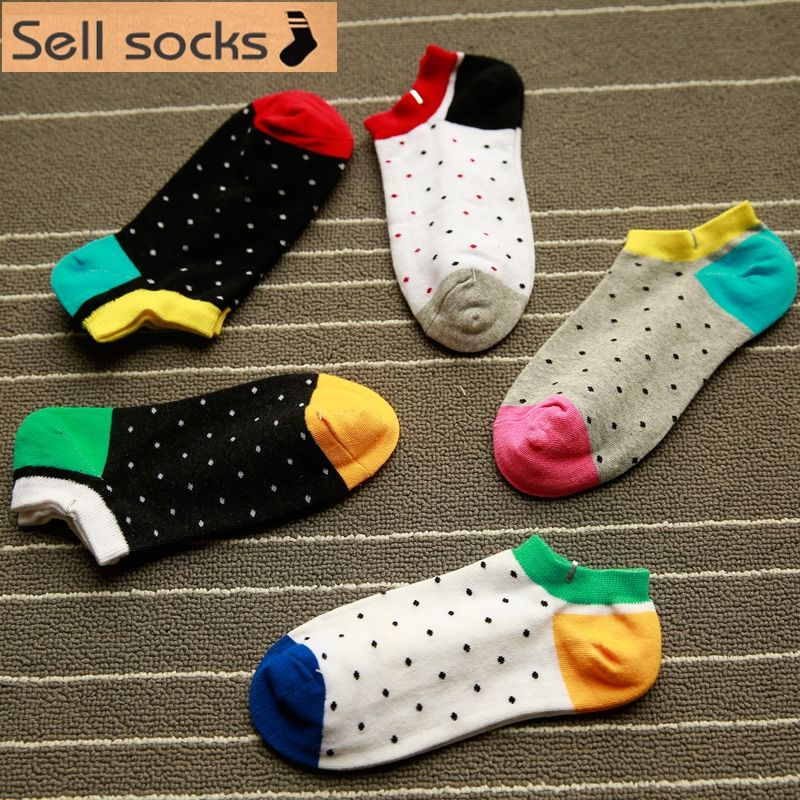 brand new summer women Small Dot Red black Orange Casual  ankle cotton socks boat sock slippers harajuku EUR35-40