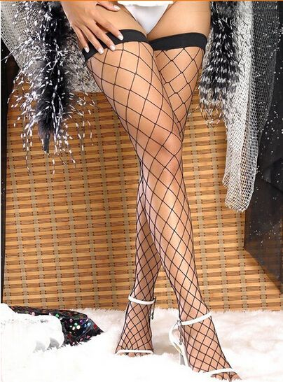 sexy women 1Pair New Women Girls Sexy Stockings Lace Top Hollow Fishnet Thigh High Stockings 4 Colors QF194