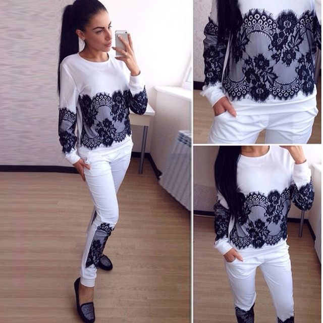 2016 New Tracksuit For Women Autumn Winter Fashion Lace Hoodies Sweatshirts + Pants Set Moletom Women's Suit