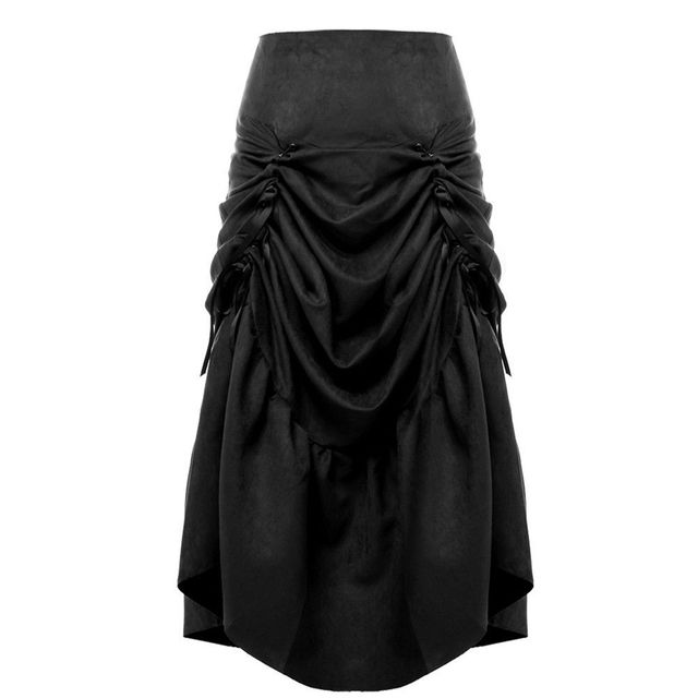 Women Vintage Gothic Steampunk Max Skirt Ruffles Fishtail Victorian Costume Black/Brown/Red/Blue