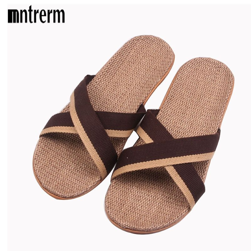 2018 Fashion Home To Fight Cross-Color Linen Slippers Spring Canvas Flax Slippers High quality Large size Men Indoor Slippers
