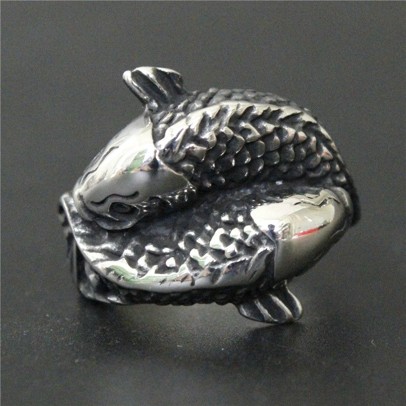Support Drop Ship Demon Lucky Double Fish Ring 100% 316L Stainless Steel Jewelry Men Boys Fish Ring