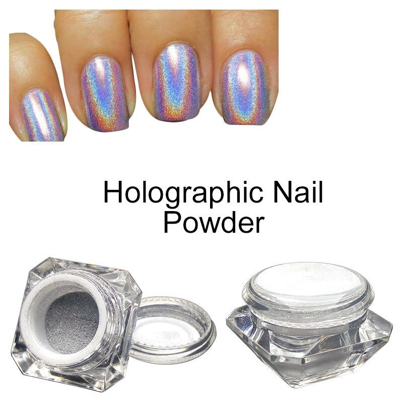 Saviland 1 Box 3D Nail Glitter Powder Rainbow Pigment Chrome Dust for Manicure and Nail Design Holographic Laser Powder