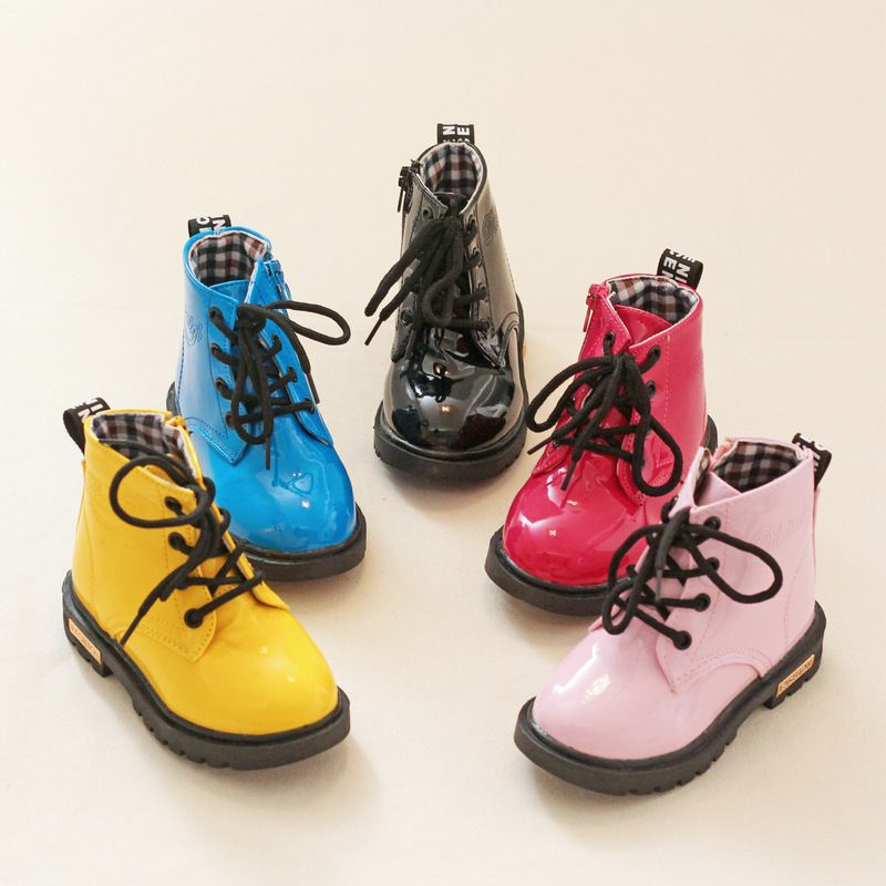 2016 Kids shoes boys girls Candy Color patent leather boots kids  Martin boots children girls boys Motorcycle boots size 21-38