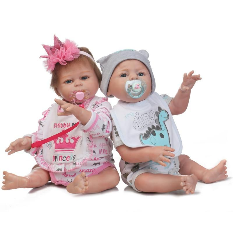 Full Silicone Body Reborn Baby Twins Dolls 20 Inch New Fashion 50cm Realistic Reborn Baby dolls for Kids Birthday Gifts & Toys