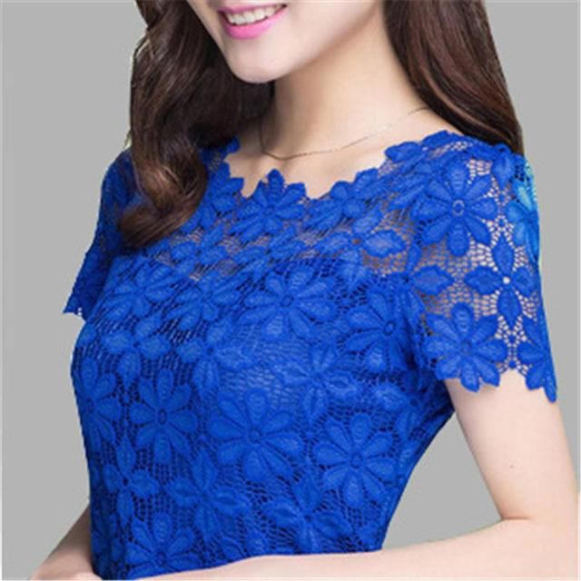 2016 New Short Sleeve Tee Shirt Top For Women Clothing Women Lace Blouse Sexy Floral Sheer Blouses M-4XL