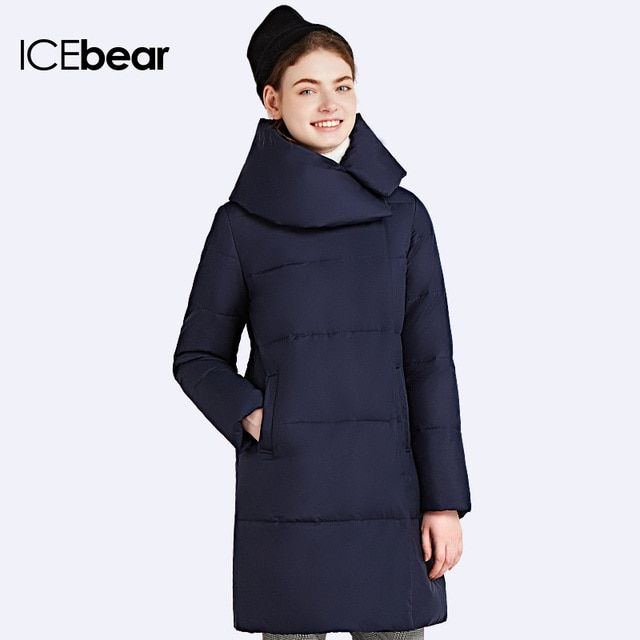 ICEbear 2017 Winter New Fashion Brand Women's Coat Jacket Women Parka High Quality Buttons Double Sided Zipper 16G6205D