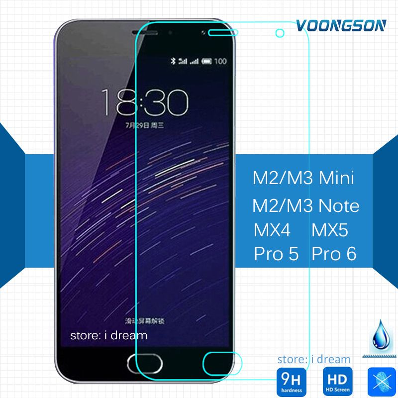 Tempered Glass For Meizu MX4 M2 Mini M3 MX3 Note MX5 Pro 5 U10 Matel AntiExplosion Screen Protector On M6 Note M2note Pro5 U 10