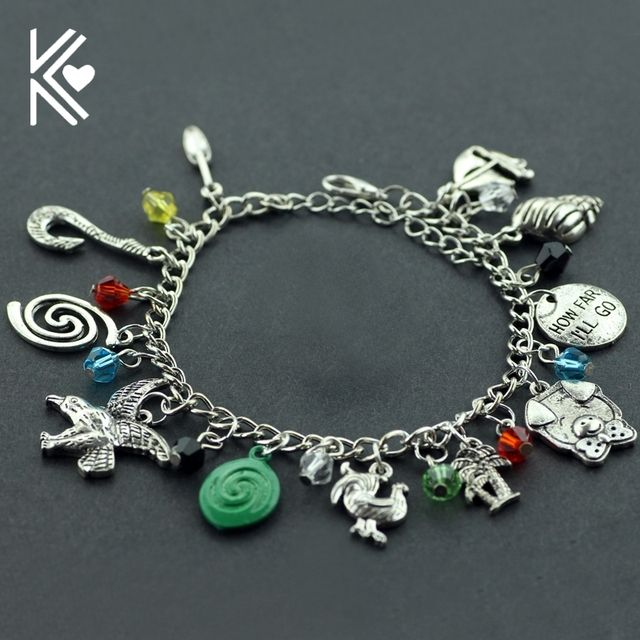 "Movie Moana Charm Bracelets Moana Inspired Round Letter ""HOW FAR I'LL GO"" Maui Fish Hook Silver Plated Bracelets & Bangles"