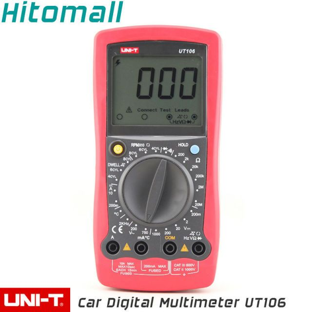 3 1/2 Manual Range Temperature  Frequency 1000V 10A  2000 Count Resistance Dwell Tacho Car Repair Auto Digital Multimeter UT106