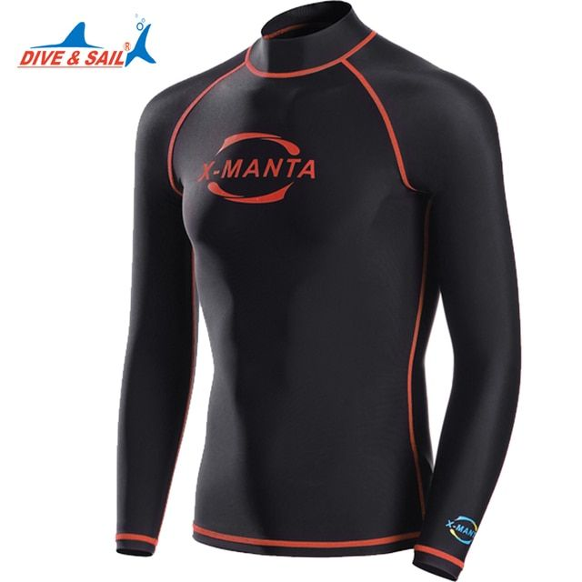 Dive&Sail Lycra UPF 50 long sleeve rash guards shirts for men Snorkeling Diving Skin Anti-UV Wear Surfing plus size xxxl