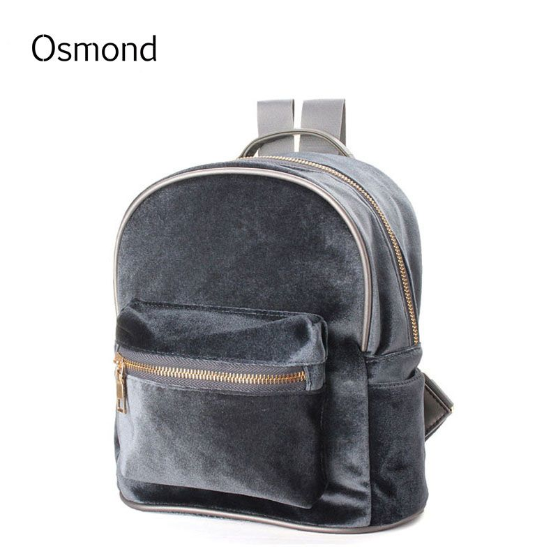 Osmond Velvet Women Backpacks Backpack Fashion Backpack For Teenage Girls Casual Solid Girls Mochila Zipper Female Small Bags