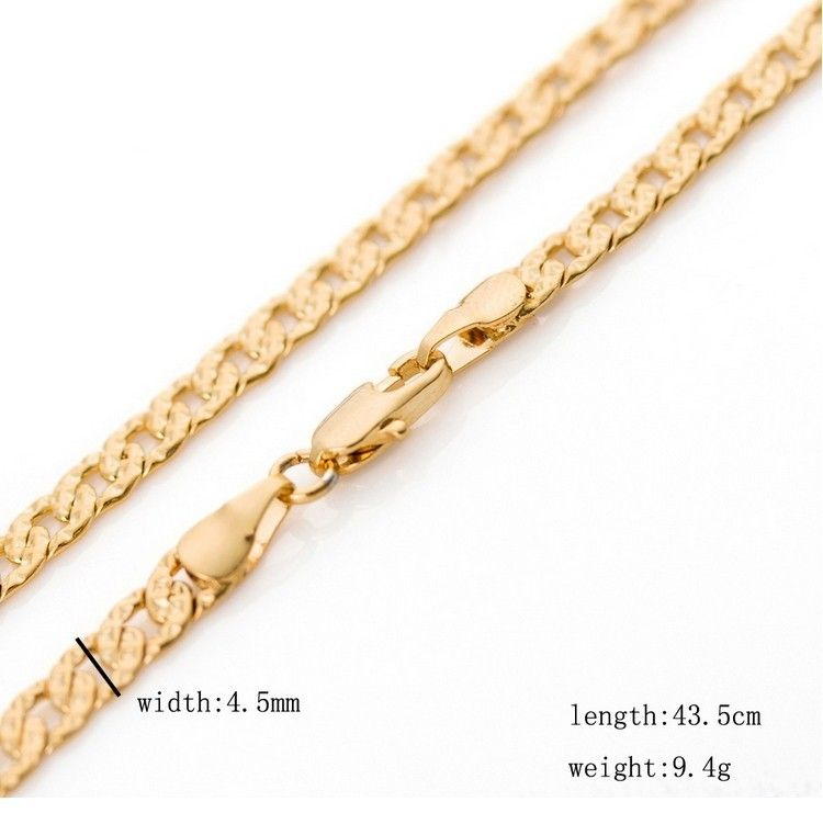 Top quality  real  Copper Alloy  solid cuban cut gold chain for men women 18inches 4.5mm 10g chokers gold necklace