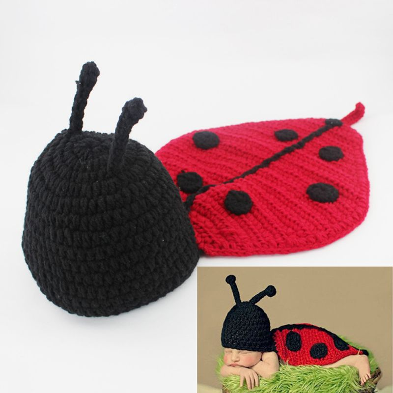 Knitted Baby Photography Props Costume Newborn Infant Crochet Ladybug Hat and Cover Set Handmade Animal Beanie with Cape