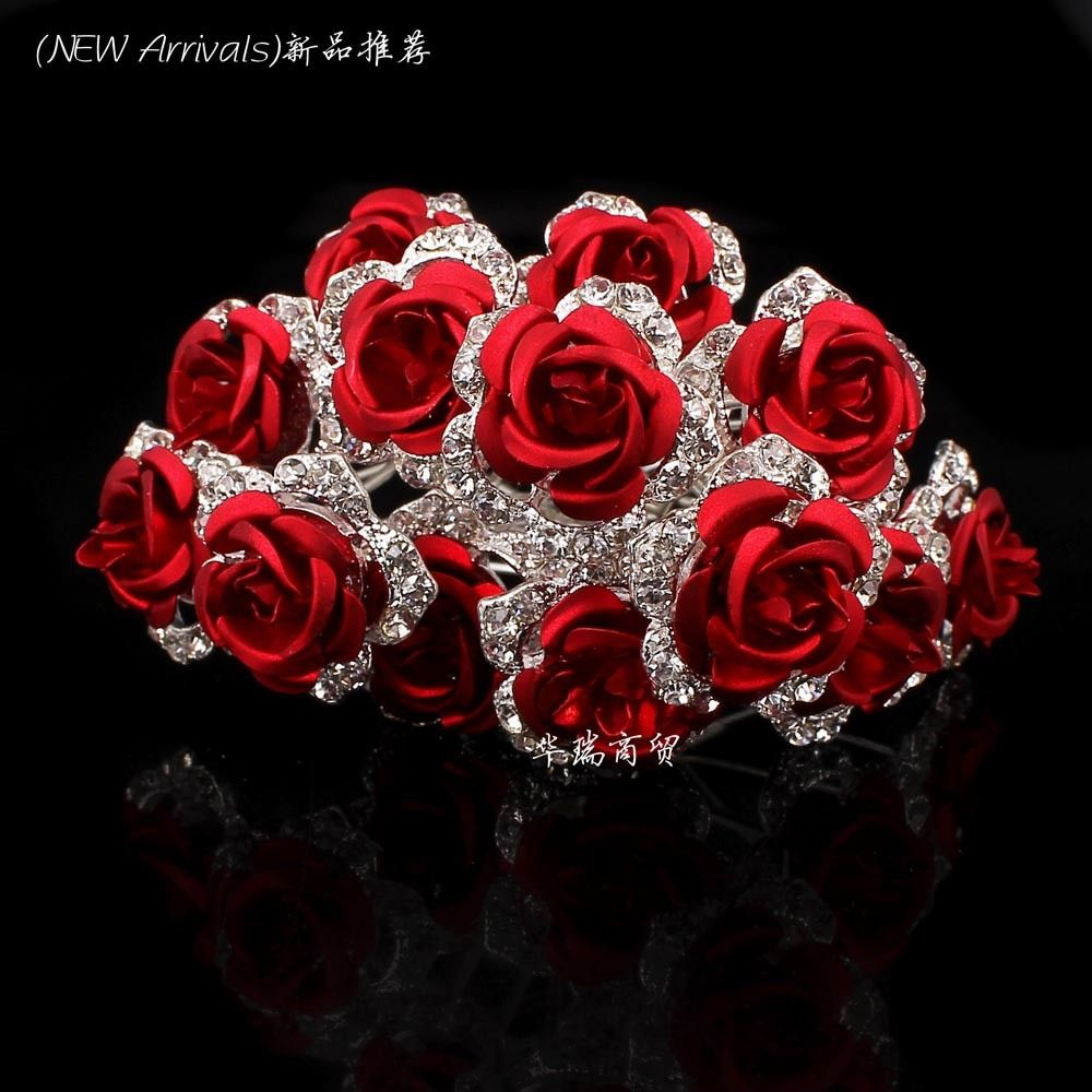 Wholesale 10pcs Red Flower Clear Crystal Rhinestone Women Wedding Bridal Party Hair Accessories HairPins Clips Grip Hair Jewelry