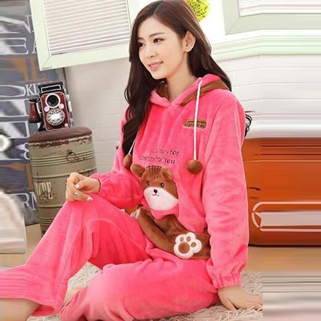 2016 zkc uncle women winter sleepwear sets warm pink o neck full trousers printed KT cat polka dot pajamas size M-xL,ty8584