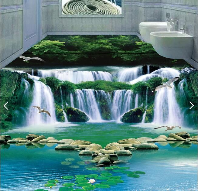3d pvc flooring custom mural picture 3d Dream waterfall water green forest  3d bathroom flooring photo 3d wall murals wallpaper