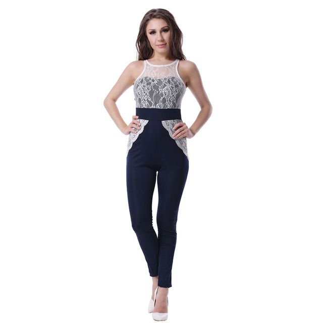R70199 Hot selling bodysuit Elegant women clothing 2015 Lace patchwork jumpsuit ohyeah Sexy sleeveless jumpsuit Sexy club wear