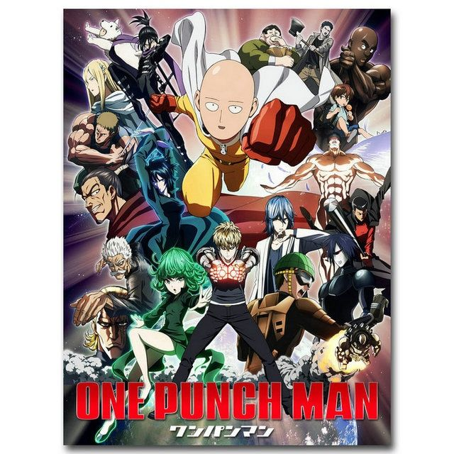NICOLESHENTING ONE PUNCH MAN Art Silk Poster 12x16 24x32 inches Japanese Anime Wall Pictures for Living Room Decor SAITIMA