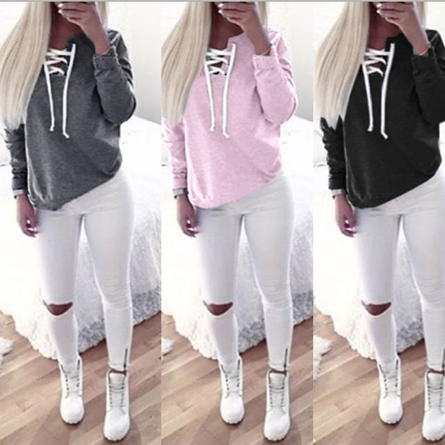 2016 New Fashion Autumn Winter Women Long Sleeve Hoodies  Casual Solid Color Bandage Sweatshirts Outwear Tops