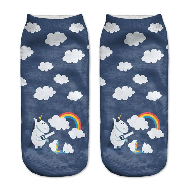 Girls Socks 2016 Casual Thin Funny Harajuku 3D unicorn and rainbow Print Anklet Socks Chaussettes Femmes Rigolote Calcetines