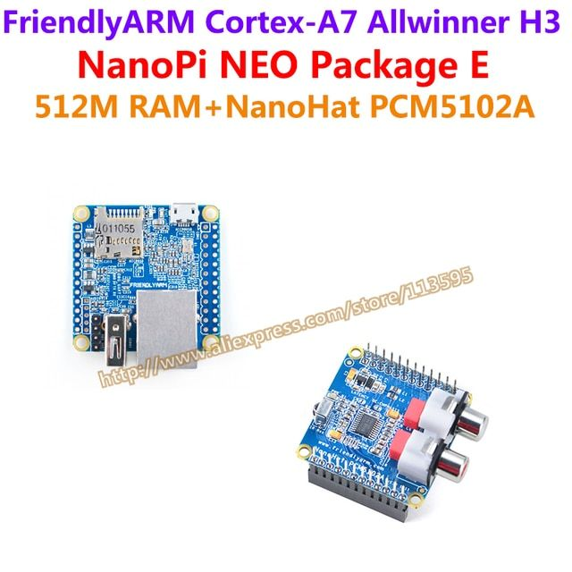 Allwinner H3 Quad-core Cortex-A7 FriendlyARM NanoPi NEO(512M)+NanoHat PCM5102A=NanoPi NEO Package E(Runs u-boot,Ubuntu-Core)