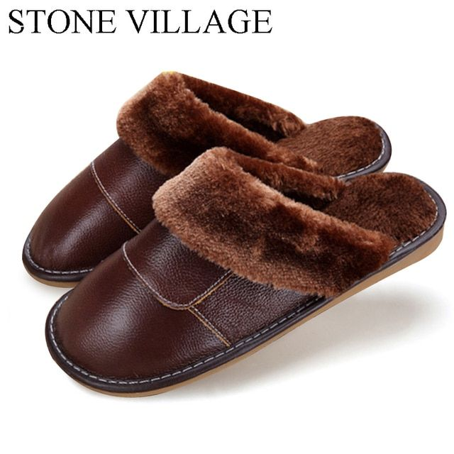 6 Colors 2018 New Genuine Leather Home Slippers  High Quality Women Men Slippers  Plush Warm Indoor  Shoes Men  Women Size 35-44