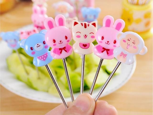 8 pcs /box cute cartoon stainless steel dessert fork bento food fruit picks  picksdessert fork dessert forks set mini forks