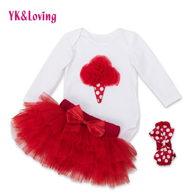 Fashion Baby Girl Clothing Sets Original Toddler Cotton Long Sleeve  Rompers Ruffle Tutu Skirts Newborn 3Pcs Clothes YK&Loving