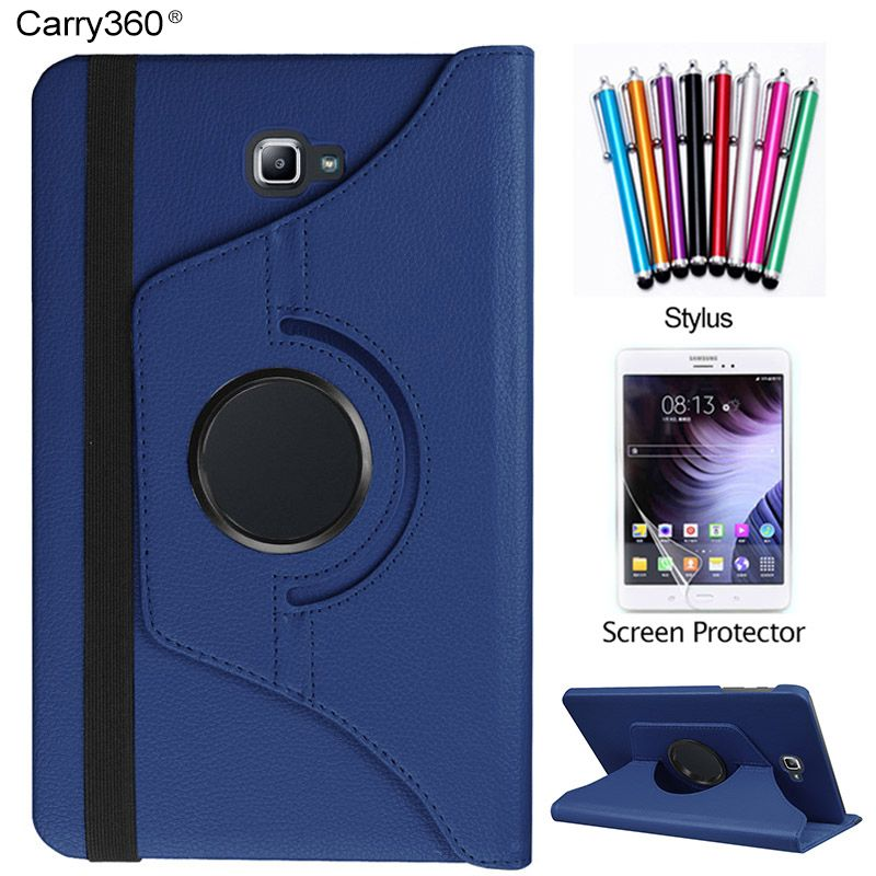 Case for Samsung Galaxy Tab A 10.1 2016 SM-T580 SM-T585, Carry360 360 Degrees Rotating Stand Tablet Cover + Screen Protector