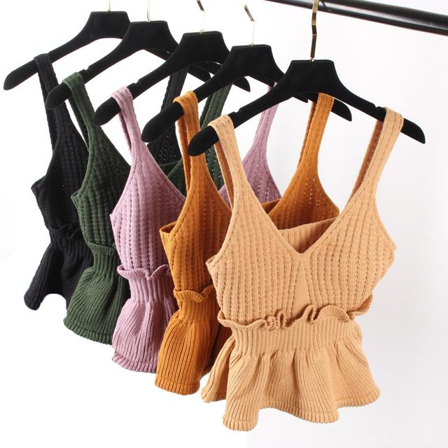 2018 Spring Women Small Tank Top Sweet Sexy Slim Hem Halter Flounced Kitted Vest Tops Basic Pink Khaki Ruffles Crop Tops sweater