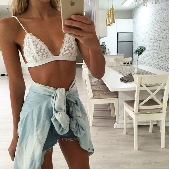Women Flower Lace Bralette Triangle Bra Unpadded Embroidered Bikini Bustier Beach Crop Top Vest