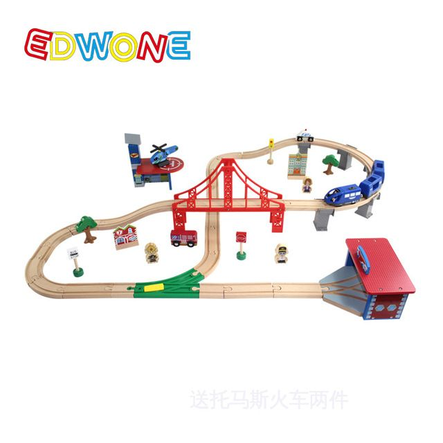 EDWONE --70PCS Thomas Train Track Set Crane Farm Beech Wooden Railway Track EDWONE fit Thomas and Brio Gifts For Kids