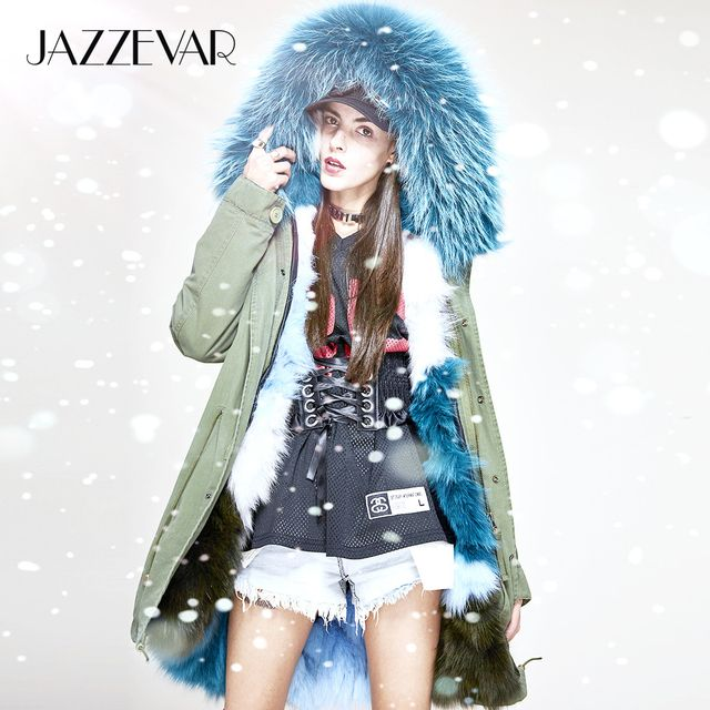 JAZZEVAR New Fashion Women Luxurious Real Fox fur lined Military Parka MIDI Large Raccoon fur Hooded Coat Outwear Winter Jacket
