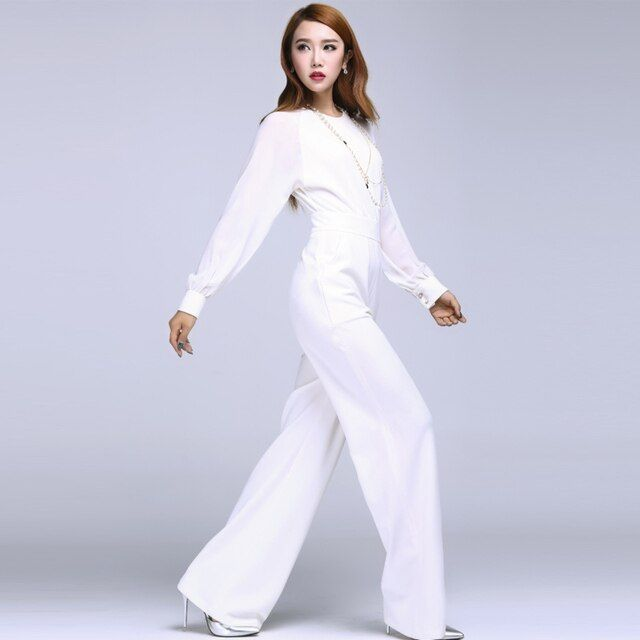 Summer Fashion Womens White Long Sleeve Wide Leg Chffion Jumpsuits , Female Elegant Slim High Waist Overalls Jumpsuit For Woman