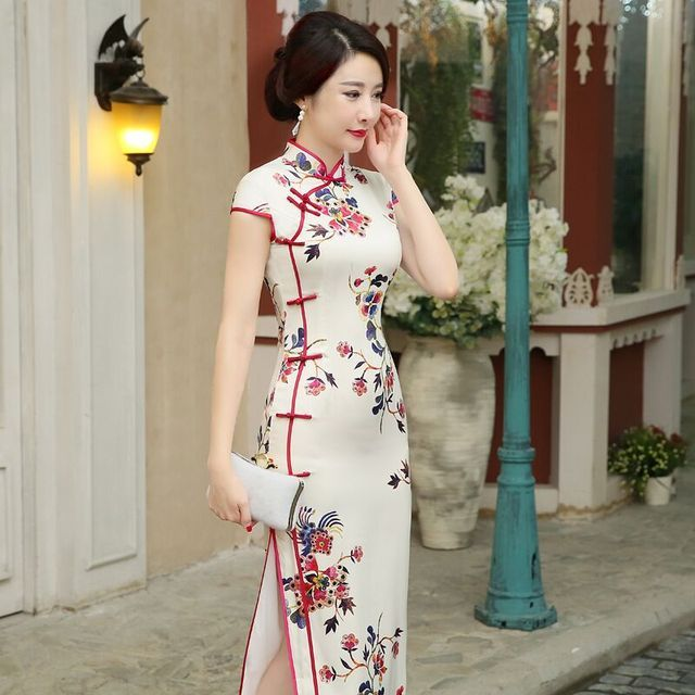 New Arrival Satin Long Cheongsam Classic Slim Qipao Fashion Chinese Style Women's Dress Vestidos Size S M L XL XXL 216063