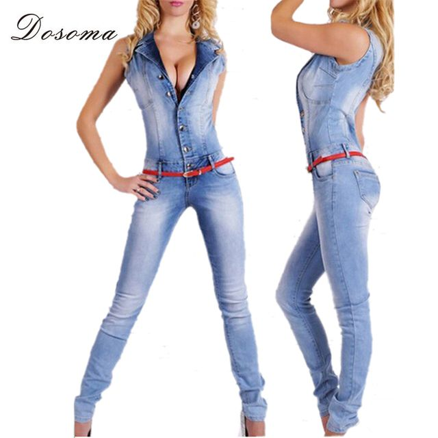 Dosoma Women Denim Slim Jumpsuits Overalls  Sleevesless Sexy Deep V Collor With Long Jeans Pant  Combinaison Femme
