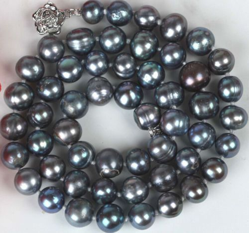 "10X10  jewerly free shipping  New 8-9mm Black Color Cultured BAROQUE Pearl Necklace 18""AAA"