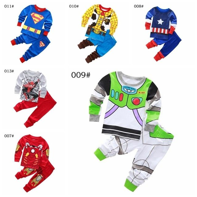 Kids Clothes Baby Boys Long Sleeve Cotton Pajamas PJS Childrens Sleepwear Pyjamas Pijamas Sets